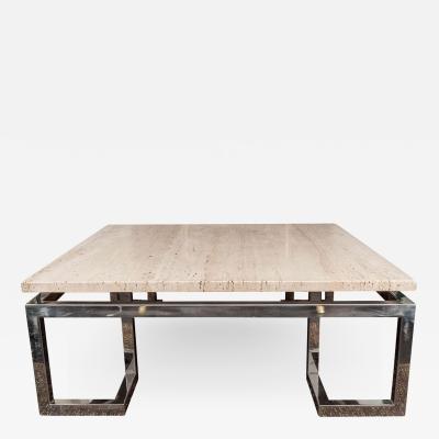 Large Greek Key Travertine Table