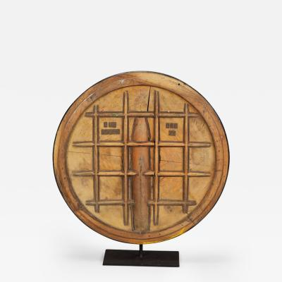 Large Grid Pattern Wooden Industrial Mold Mounted on Stand