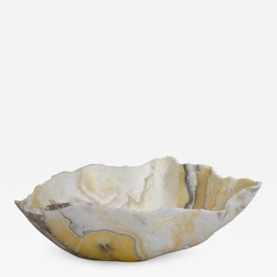 Large Hand Carved Onyx Bowl or Centerpiece in White Gold Gray Taupe
