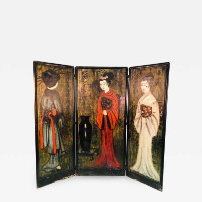Large Handpainted Folding Screen Japanese Women in Fancy Kimonos