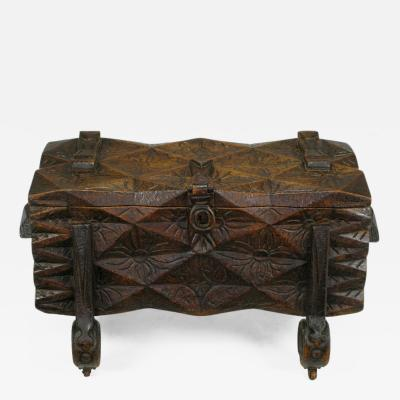 Large Heavily Carved Spanish Style Trunk on Legs