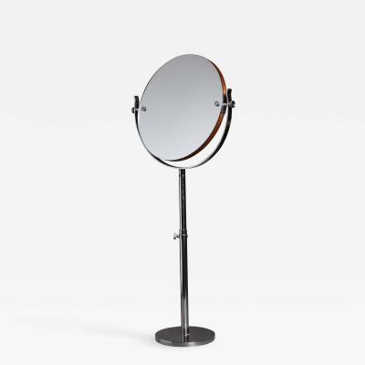 Large Height Adjustable Nickel Vanity or Shaving mirror Sweden 1950s