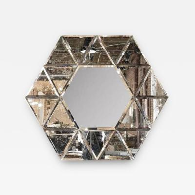 Large Hexagonal Antiqued Mirror