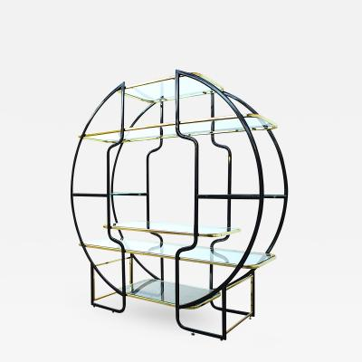 Large Hollywood Regency Etagere or Vitrine in Brass and Black