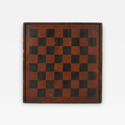 Large Impressive Paint Decorated Game Board in Red Black circa 1845