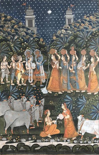 Large Indian Pichhavai Painting 19th Century