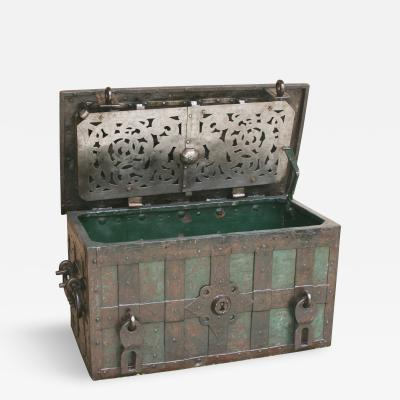Large Iron Armada Chest 17th Century Strong Box