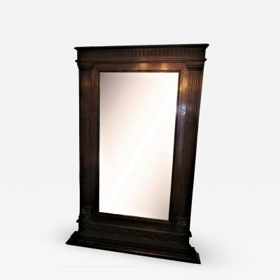 Large Italian 19th c Carved Walnut Mantel Mirror