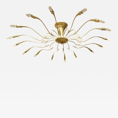 Large Italian Brass Chandelier With Radiating Arms 1950s