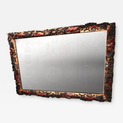Large Italian Gilt and Polychromed Mirror