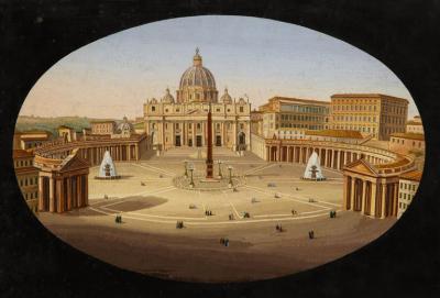 Large Italian Micromosaic Plaque of St Peter s Basilica Venice circa 1860