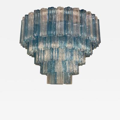 Large Italian Murano Glass Blue and Ice Color Tronchi Chandelier