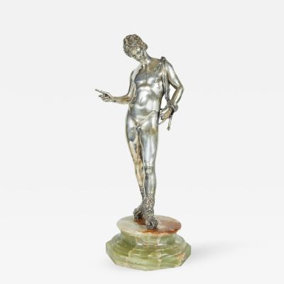 Large Italian Silver Figure Statue of a Male Nude Narcissus after the Antique