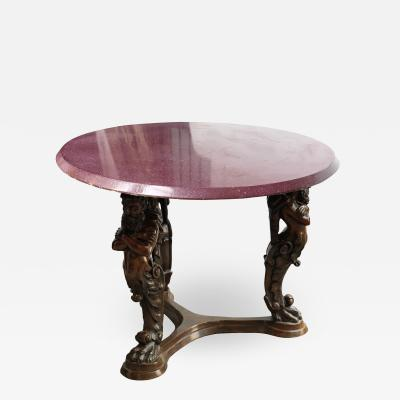Large Italian bronze pedestal table tray painted in imitation of porphyry