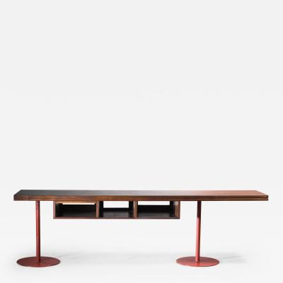 Large Italian wood en metal desk