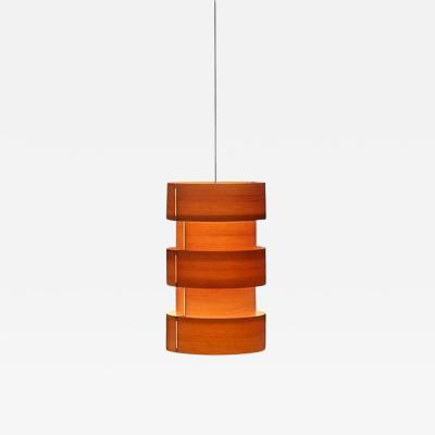 Large J A Coderch Columna Cister Wood Suspension Lamp for Tunds