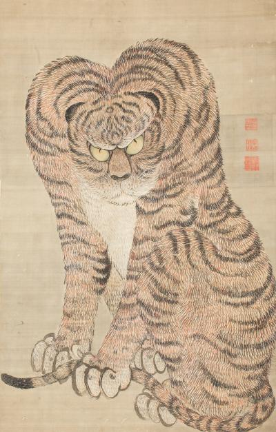 Large Japanese Scroll of a Tiger