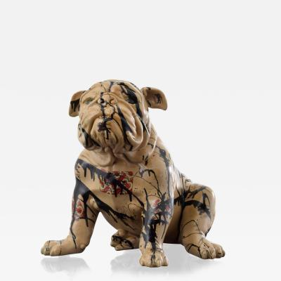 Large Jeff Diamond Burberry Couture Bulldog Sculpture Unique