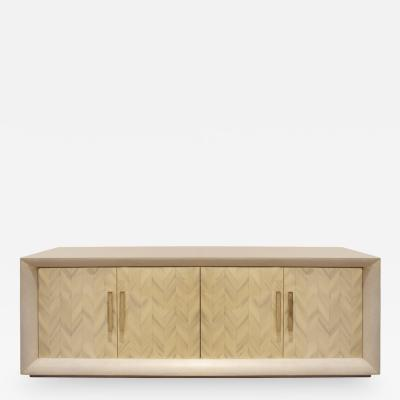 Large Lacquered Linen Credenza with Herringbone Lacquer Doors 1970s