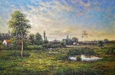 Large Landscape Oil on Canvas Dutch School by Jack Lanze