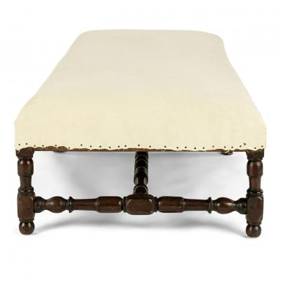 Large Louis XIV Upholstered Oak Bench