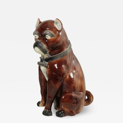 Large Majolica Pug Figure
