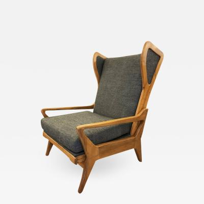 Large Mid Century Lounge Chair with Walnut Frame