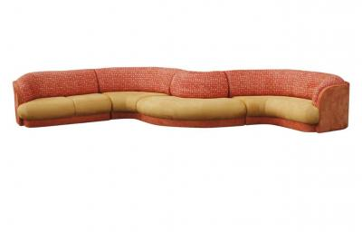 Large Mid Century Modern Curved Serpentine Sectional Sofa
