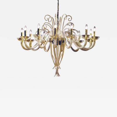 Large Mid Century Modern Style Twelve Arm Gold Murano Glass Chandelier