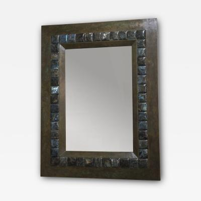 Large Mirror with Wood and Labradorite Frame France 1980s