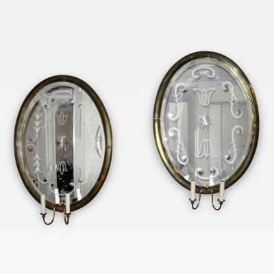 Large Mirrored Back Sconces