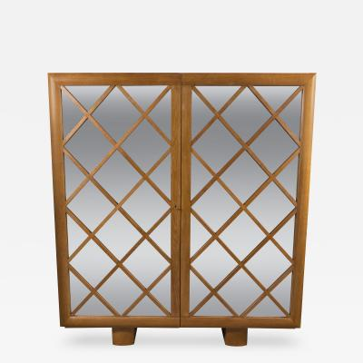 Large Mirrored Cabinet with Diamond Lattice Front