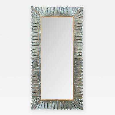 Large Modern Aqua Murano Glass Mirror