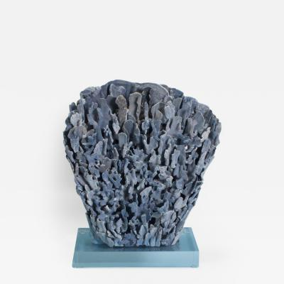 Large Modern Blue Coral Sculpture