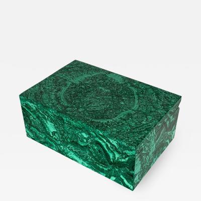 Large Modern Malachite Stone Jewelry Box