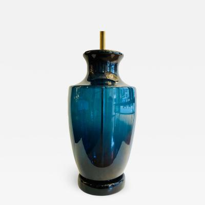 Large Moderne Blue Murano Glass Lamp