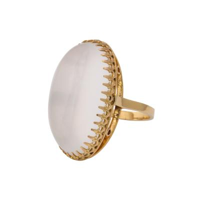 Large Moonstone and 18 kt Gold Ring