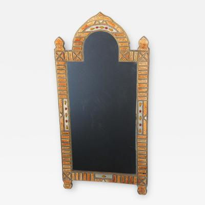 Large Moroccan Arched Moorish Mirror Inlaid with Camel Bone