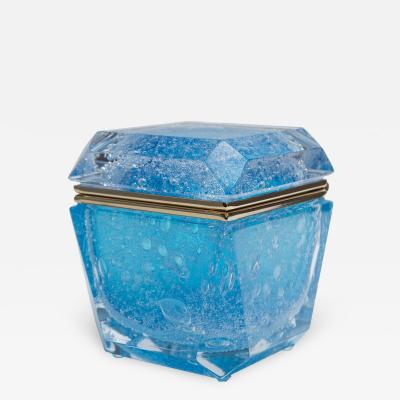 Large Murano Blown Acquamarine Chamfered Box Contemporary