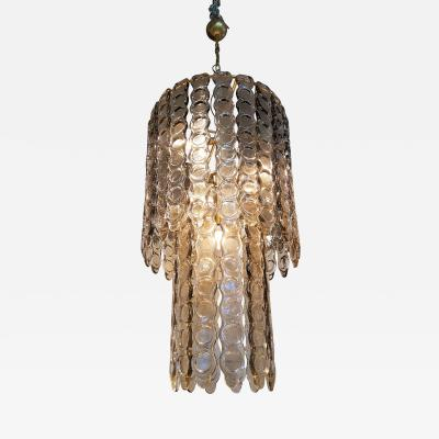 Large Murano Light Smoked Textured Glass Chandelier Mid Century Modern