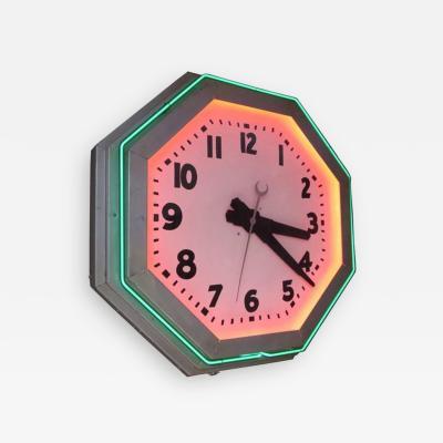 Large Octagon Deco Neon Clock 1930s