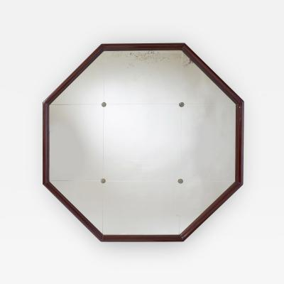 Large Octogonal Mahogany Mirror France 1930s