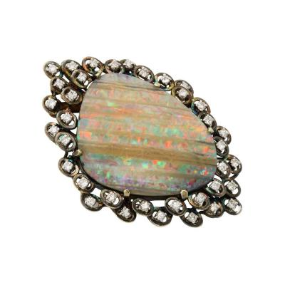 Large Opal Brooch Pendant Surrounded by Diamonds set in Gold