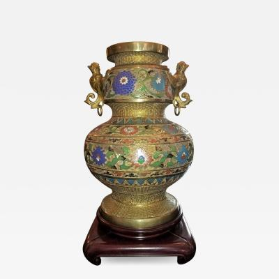Large Oriental Champleve Cloisonne Urn on Stand