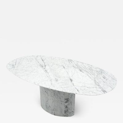 Large Oval Carrara Marble Dining Table Italy 1970s