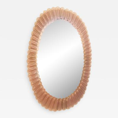 Large Oval Pink Murano Glass Mirror