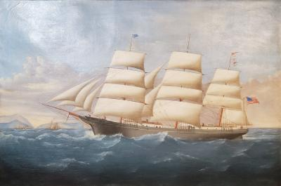 Large Painting of Ship Pharos Flying the American Flag Signed Charles Waldron