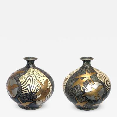 Large Pair of Asian inspired 1960s Ceramic Vases Adorned with Stylized Birds