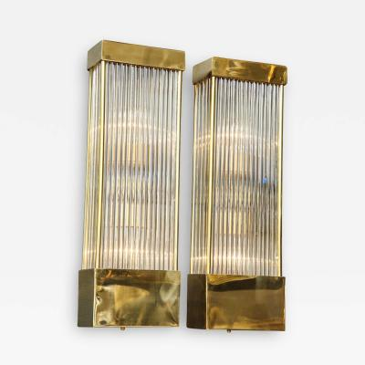 Large Pair of Brass and Clear Murano Glass Rectangular Sconces Italy