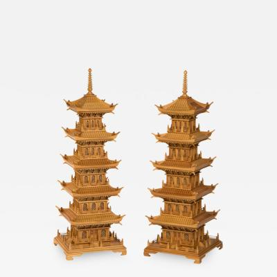 Large Pair of Carved Pine Pagodas